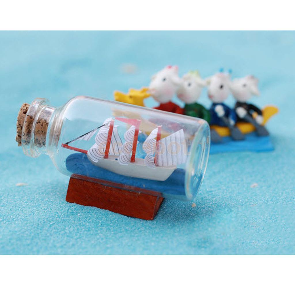 x botella de deriva de cristal en miniatura micro bonsai paisaje barco decoracin de casa de