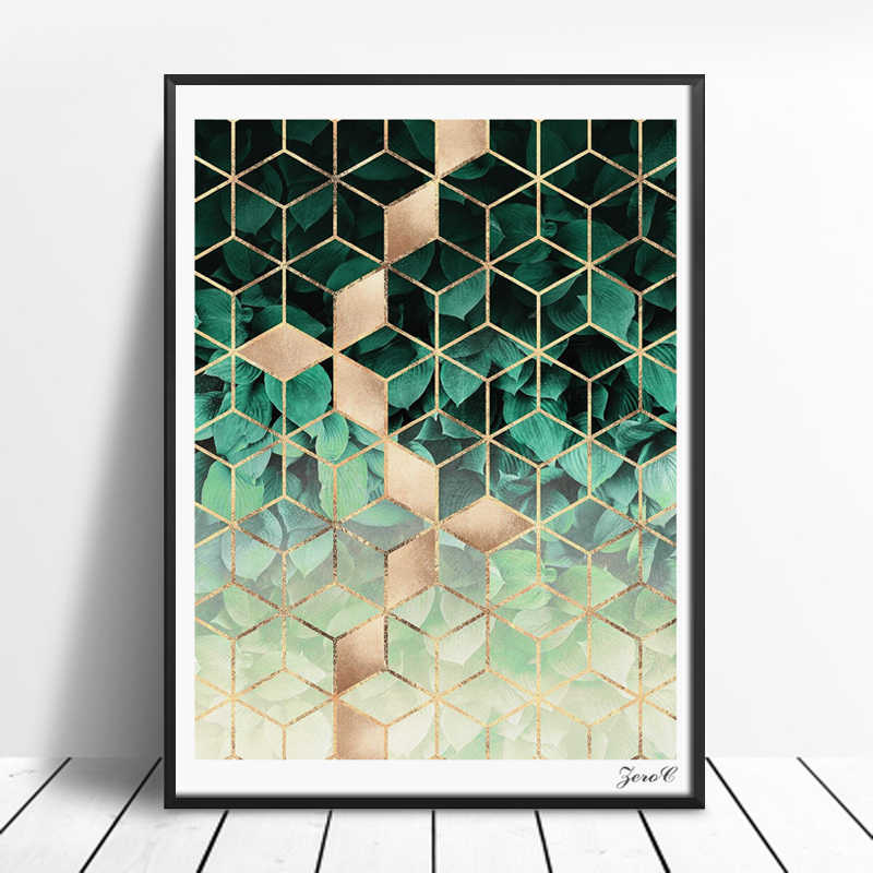Nordic Geometric Art Posters and Prints Leaves Cubes Wall Art Canvas Painting Pictures For Living Room Abstract Home Decor