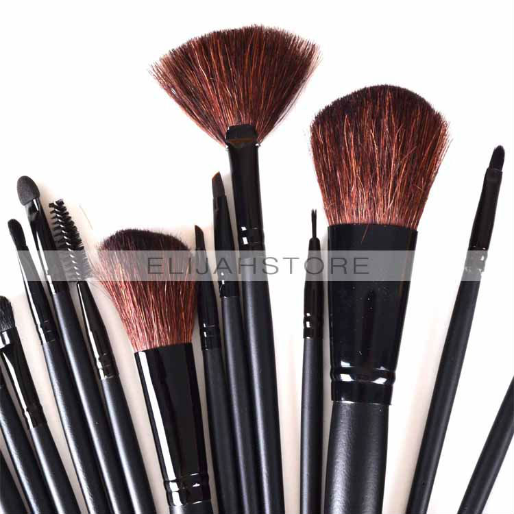 24pcs/set Professional Makeup Brush Cosmetic Nylon Hair Facial Care Brushes with Black Leather Case Free Shipping