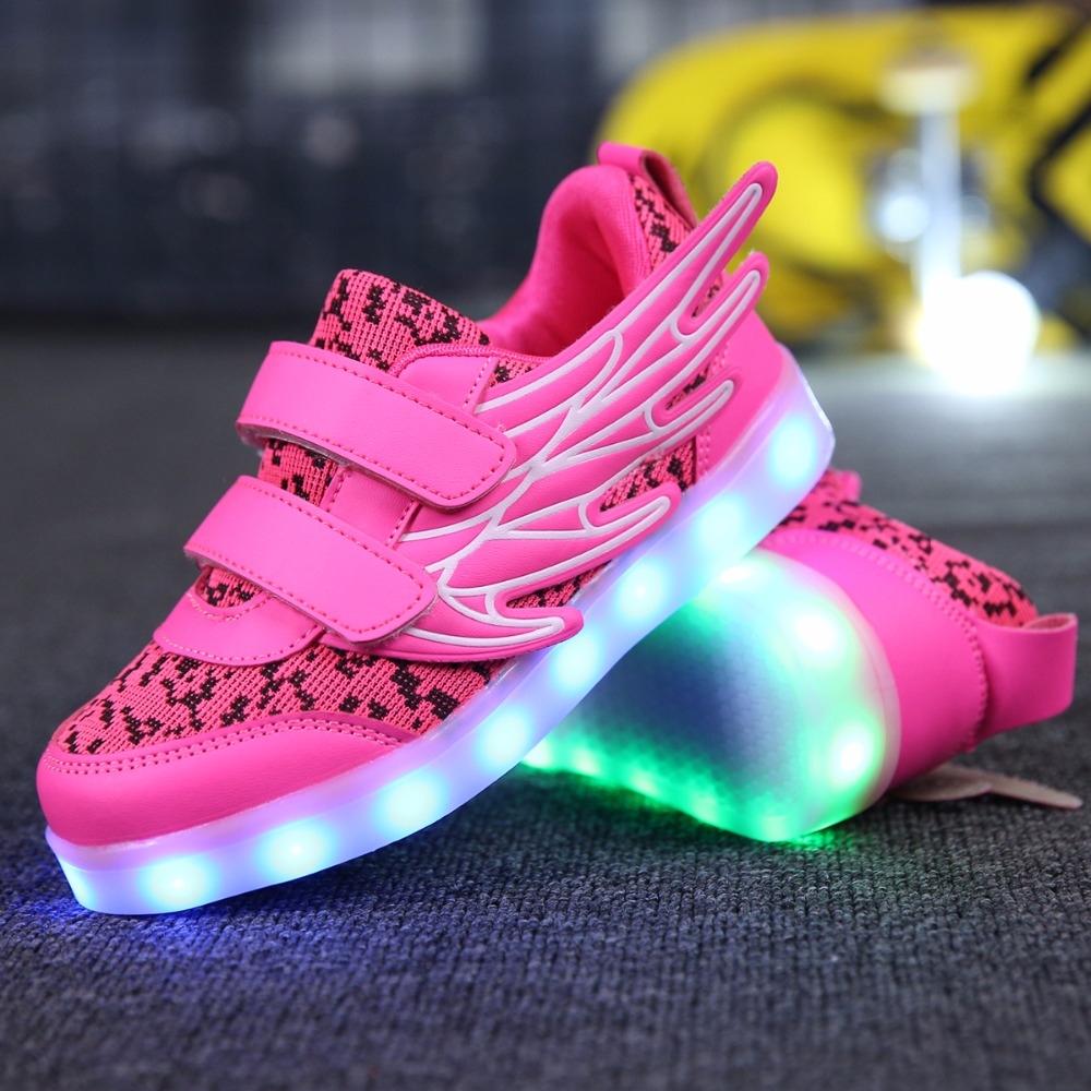 25-37 Size USB Charging Basket Led Children Shoes With Light Up Kids Casual Boys&Girls Luminous Sneakers Glowing Shoe Pink Gold