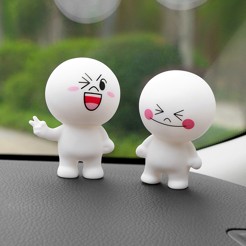 Car Ornament Cartoon Doll Adornment Cute Expression Car Decoration Dashboard Auto Interior Decor Car Accessories for Gifts 7cm car pendant cute helmet rearview mirror hanging for game of thrones cartoon automobile interior decoration ornament accessories