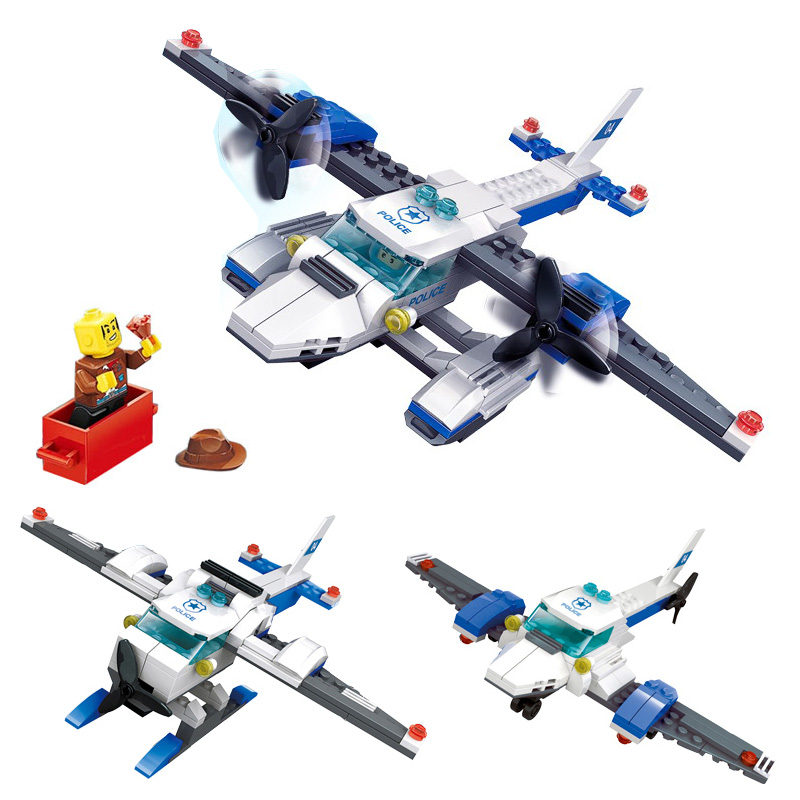 KAZI Airplane Aircraft Coast Guard City Police Series Action Model Building Block Bricks Classic Educational Toys For Children kazi fire rescue airplane action model building block set brick classic collectible creative educational toys for children