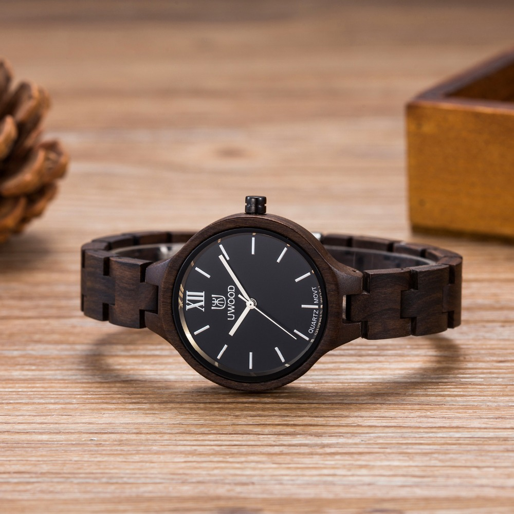 Uwood W3213 Casual Fashion Watches Wooden Watch Women Vintage Quartz Wood Watches Women`s Dress Watch Clock New Luxury Imitation