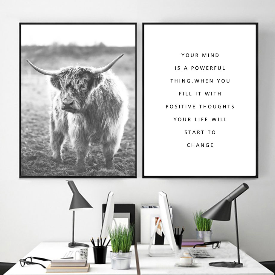Sheep Forest Fog Flower Quote Wall Art Canvas Painting Nordic Posters And Prints Black White Wall Pictures For Living Room Decor in Painting Calligraphy from Home Garden