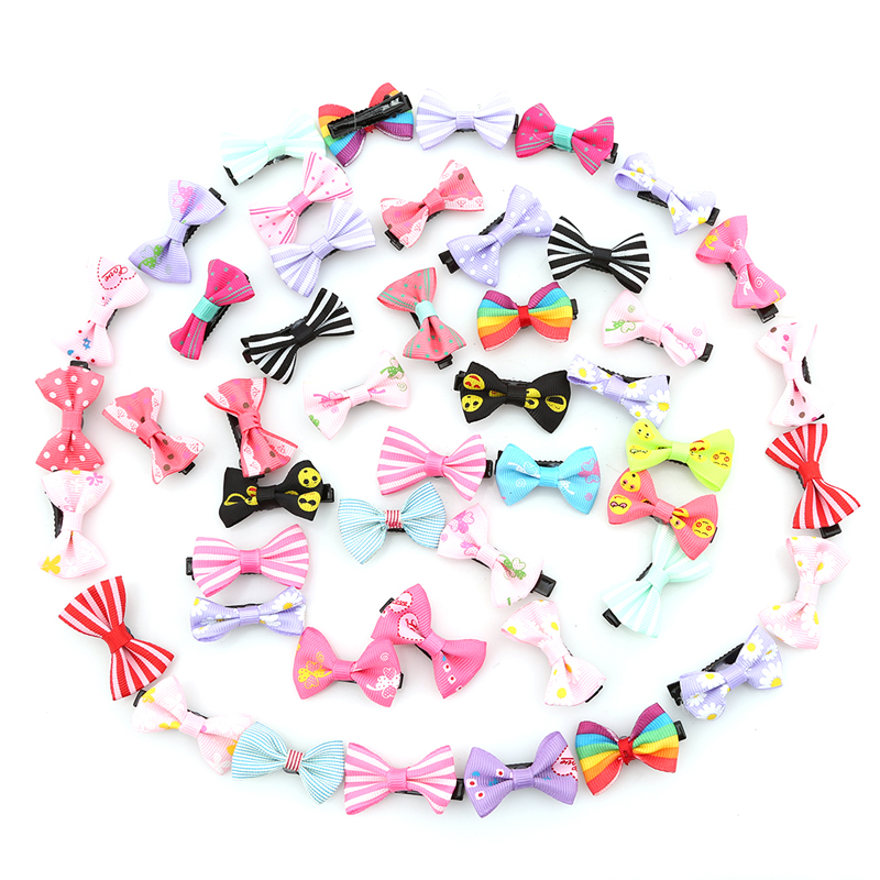 hengsong 20/50pcs/pack Mixed Color Bowknot Kids Barrette