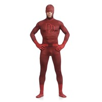 Adult Double D Sorrel Superman Daredevil Superhero Open Half face Zentai Lycra Suit Spandex Catsuits Original Halloween Costumes