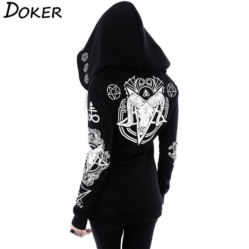5XL Gothic Punk Print Hoodies Sweatshirts Women Long Sleeve Black Jacket Zipper Coat Autumn Winter Female Casual Hooded Tops