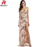Reaqka Sexy Luxury Vàng Sequins Maxi Dress Summer 2017 Thanh Lịch đen V Neck Chia Câu Lạc Bộ Không Tay Dài Đảng Dresses Vestidos XL
