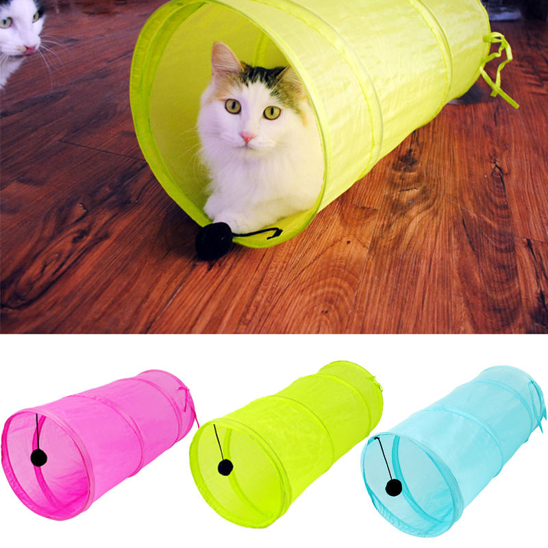 3 Colors Pet Tunnel Cat Solid Lovely Foldable Kitten Tunnel Toy With Ball Play Fun Toy Tunnel Rabbit Play Tunnel Bulk Cat Toys