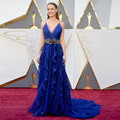 Brie Larson at 2016 Oscars Red Carpet Celebrity Dresses Sexy Royal Blue V Neck Crystal Belt Long Dress Robe de Soiree CL-5