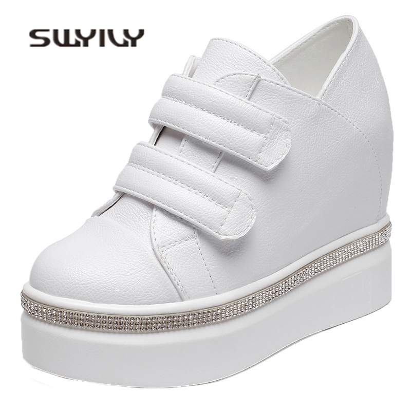 SWYIVY Platform Shoes Sneakers Woman 2018 10cm Rhinstone Hided Wedge Female Casual Shoes White Lady Thick Bottom Sneakers Woman beffery summer shoes women genuine leather fashion casual white woman shoes platform thick bottom shoes woman sneakers