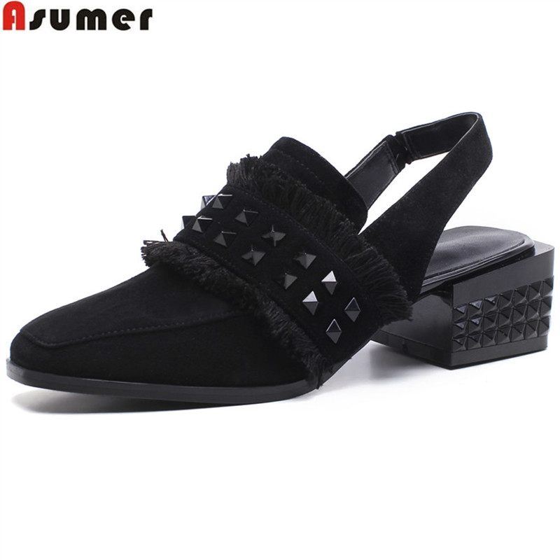 ASUMER black fashion spring autumn new arrival shoes woman square toe casual pumps women shoe med heels genuine leather shoes memunia spring autumn fashion lace up ladies shoes med heels square toe high quality patent leather black casual shoes