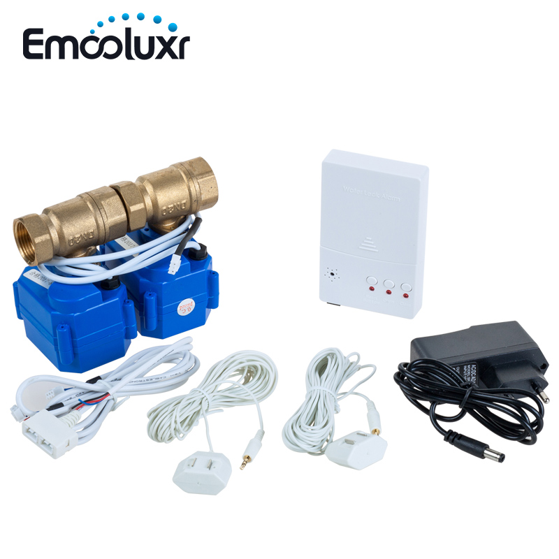 Water Leakage Detection Alarms System with Two 3/4 Copper Valves DN20 For Cold & Hot Water Auto Lock Switch Prevent Water FloodWater Leakage Detection Alarms System with Two 3/4 Copper Valves DN20 For Cold & Hot Water Auto Lock Switch Prevent Water Flood