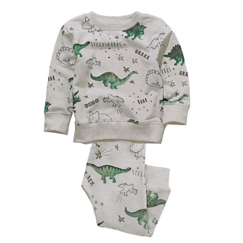 Children autumn spring cotton Boy Clothing Set new 2017 printed dinosaur fashion long sleeve Tops +full pants baby clothes suits 2017 new cartoon pants brand baby cotton embroider pants baby trousers kid wear baby fashion models spring and autumn 0 4 years