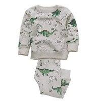Children Autumn Spring Cotton Boy Clothing Set New 2017 Printed Dinosaur Fashion Long Sleeve Tops Full