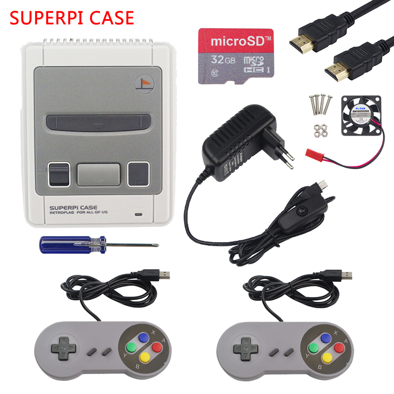 For Raspberry Pi 3 Retroflag SUPERPi NESPi Case Gaming Kit With USB Gamepad For Raspberry Pi 3 Model B 3B Plus For Retropie