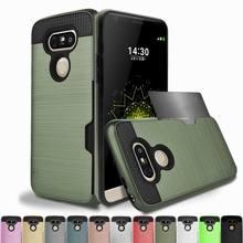 Lüks kart tutucu Yuvası LG kılıfı V40 V30 V20 V10 G5 G6 G7 K8 K10 TPU + PC Zırh arka kapak Için iPhone X XR XS Max 6 6 S 7 8 Art...