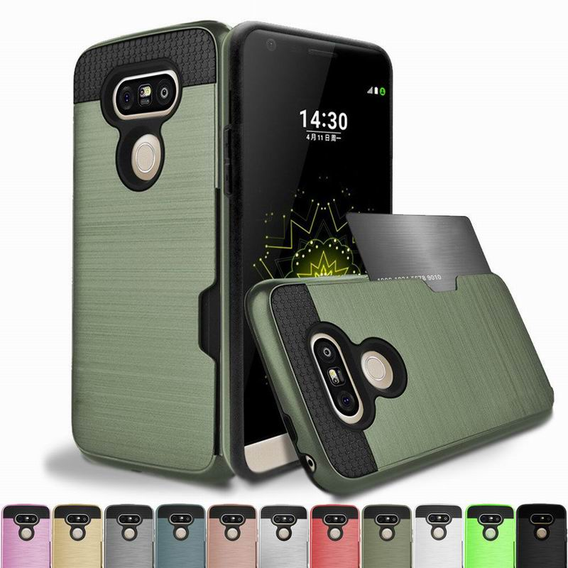 Luxury <font><b>Card</b></font> Holder Slot <font><b>Case</b></font> For <font><b>LG</b></font> V40 <font><b>V30</b></font> V20 G6 G7 K8 K10 TPU+PC Armor Back Cover For iPhone 11 Pro X XR XS Max 7 8 6 6s Plus image