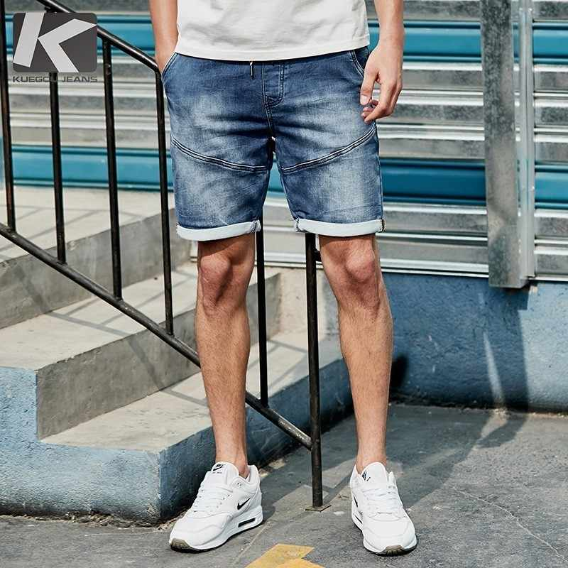 Lato 2019 mężczyźni spodenki jeansowe bawełna elastyczny pas niebieski kolor dla człowieka moda Slim Fit kieszeni dżinsy męskie nosić krótkie 2926