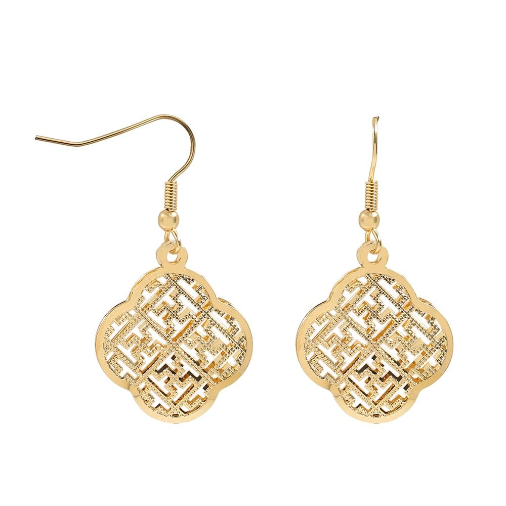 TL Charm Flowers Sharped Gift Love Heart Earrings for Women Gold/Silver Stainless Steel Dangle Drop Earrings