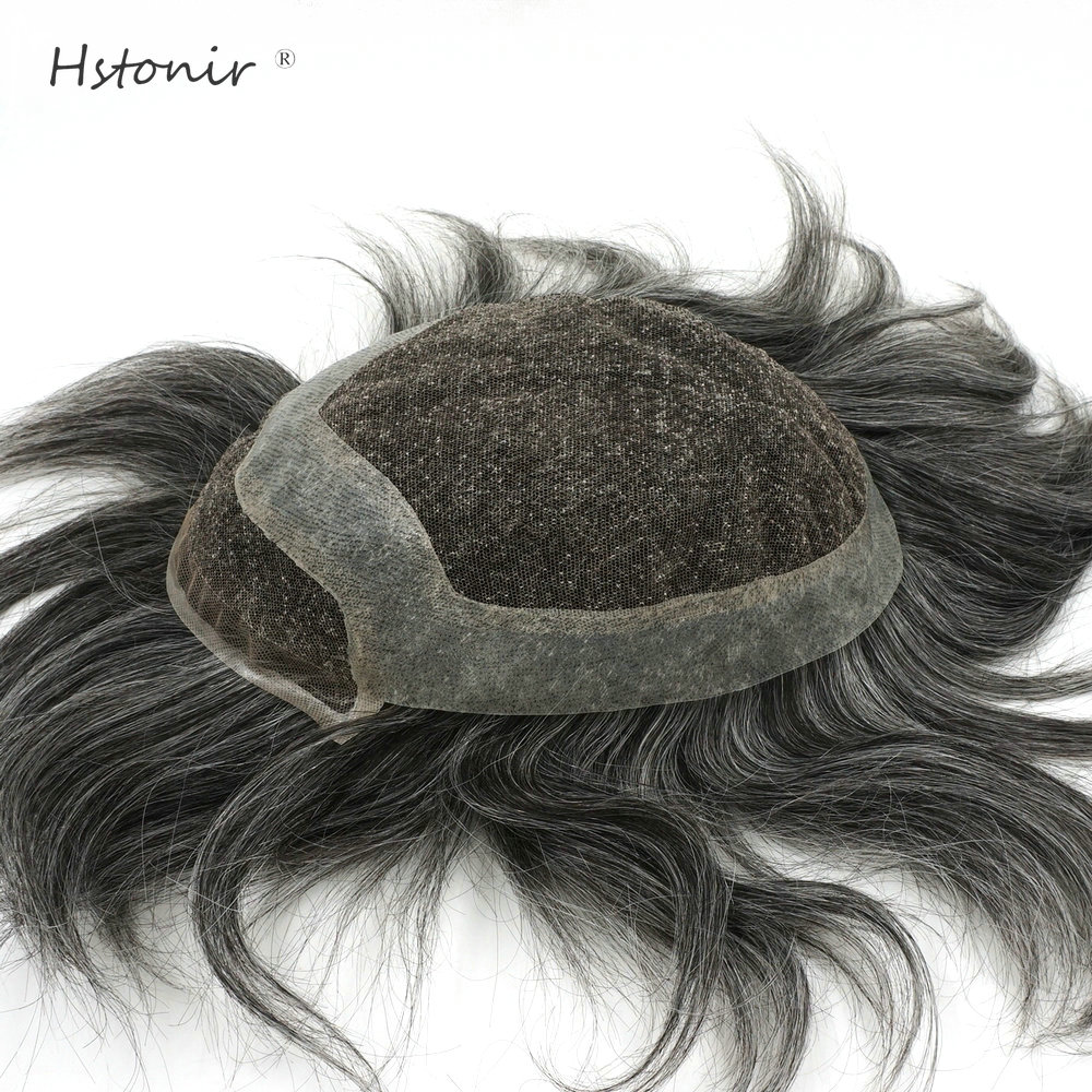 Hstonir Wig For Men Natural Hair Lace Front Toupee Human Remy Hair Pieces Ash Grey System H040