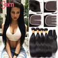 Unprocessed Raw Indian Human Hair with Closure 4 Bundles Indian Straight Virgin Hair with 4x4 Lace Closure Queen Hair Products