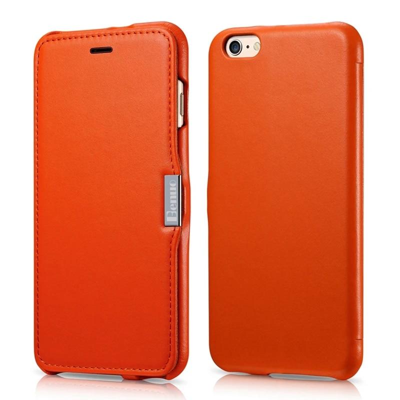 Coque For iPhone 6 Case,[Luxury Series]Genuine Leather Folio Flip Corrected Grain Leather Case Magnetic Closure for iPhone 6s 6