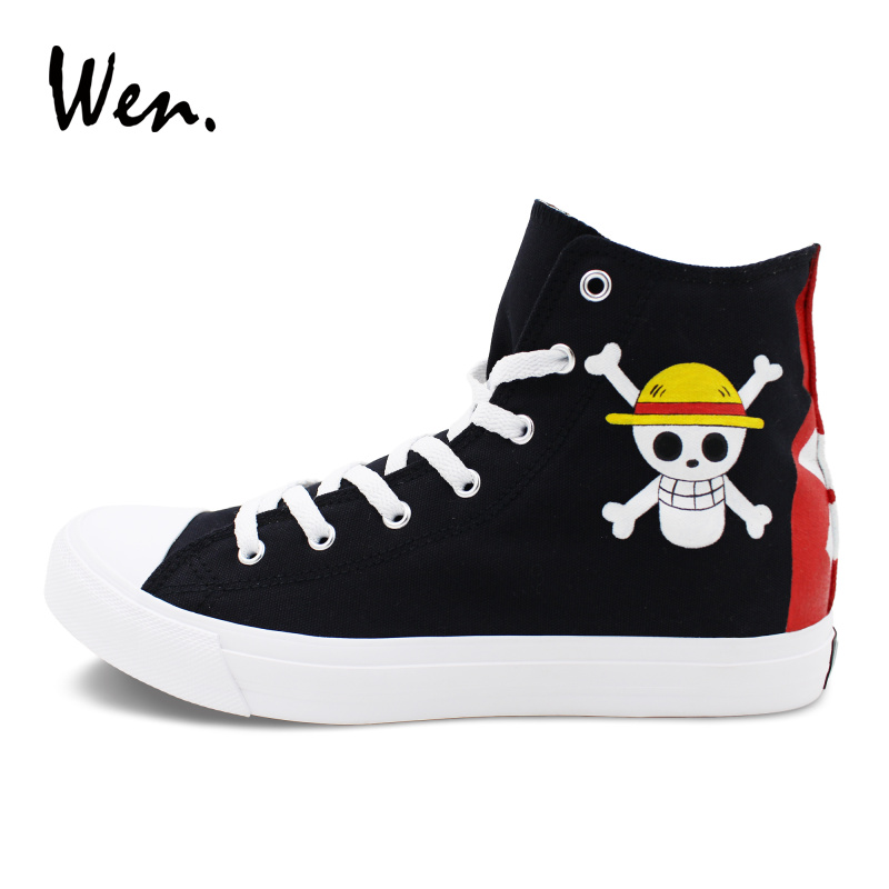 Wen Men Women Sneakers Black Design Anime One Piece Luffy Jolly Roger Hand Painted Canvas Shoes Lace Up Tie Flat