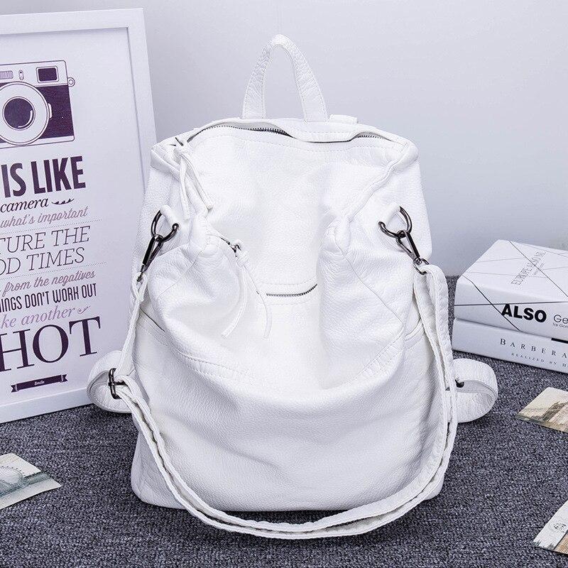 Rétro sac à dos femme en cuir grand casual épaule messenger en cuir lavé femmes sac à dos sac blanc 2019