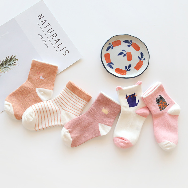 0 12Y 5 Pairs Pack Wholesale Newborn Infant Socks Summer Digital Color Matching High Quality Cotton Cartoon Baby Socks 10 Colors in Socks from Mother Kids