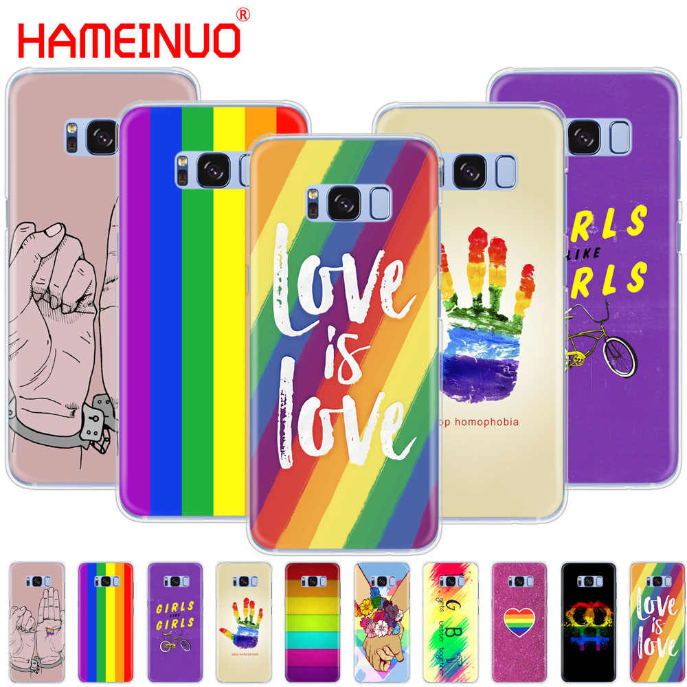 Gay Lesbian Lesbian Rainbow Flag Kebanggaan Seni Colorful Ponsel Case PENUTUP UNTUK Samsung Galaxy S9 S7 Edge Plus S8 s6 S5 S4 S3 Mini