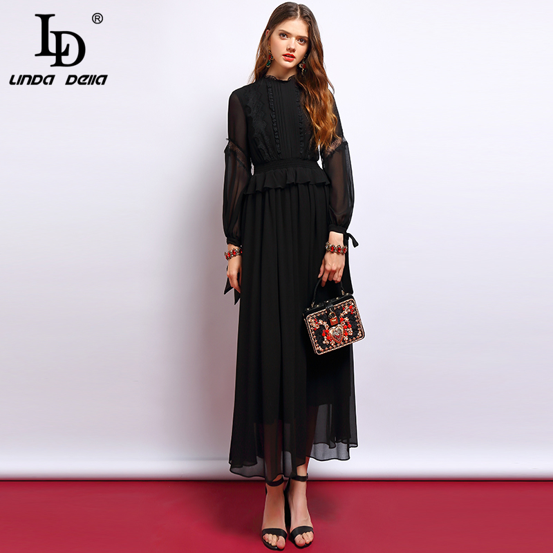 LD LINDA DELLA Fashion Designer Black Dresses Women s Long Sleeve Lace Patchwork Ruffles Elegant Vintage