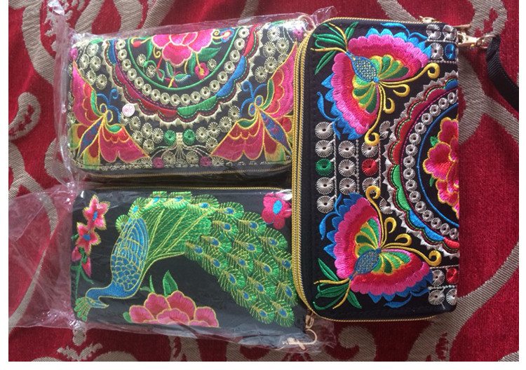 embroidered purse wallet