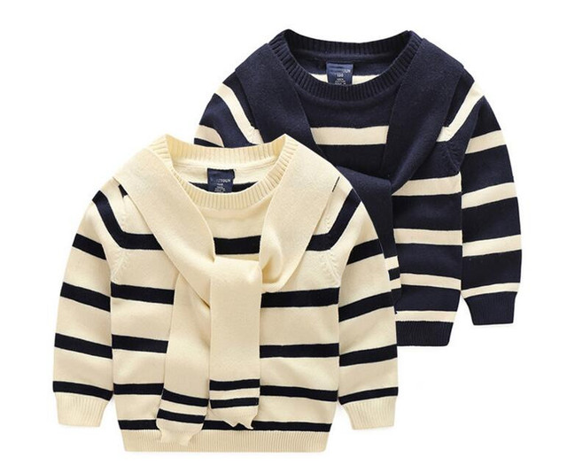 YWB029 Retail 2016 Autunm Fashion Baby Boy Sweater Striped Appliques Scarf Toddler Boy Pullover Full Sleeve Boy Clothes Casual