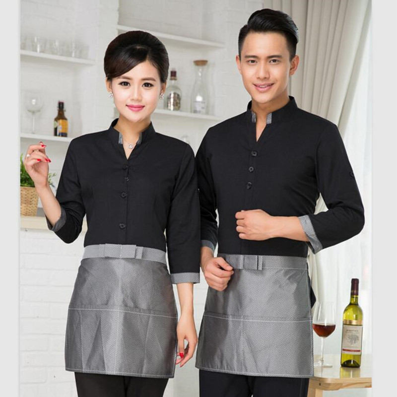 Hotel Work Clothes Women's Waitress Uniform Chinese Restaurants Fast Food Hot Pot Shop Cafe Waiters Long-sleeved Overalls H2395