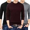 Men 's sweater winter sets of pure color round neck long - sleeved sweater middle - aged warm loose cashmere sweater