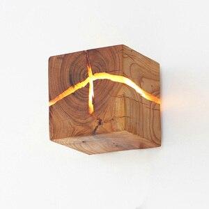 Image 5 - 유럽 스타일 아트 장식 LED 벽 램프 침실 머리맡 통로 실내 홈 전등 G4 나무 벽 램프 거실