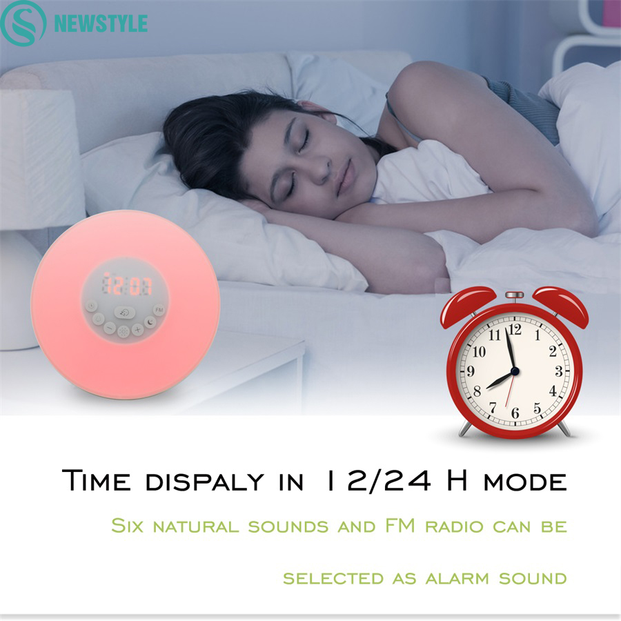 ФОТО 2017 Newest Sunrise Wake Up LED night Light with Digital Alarm Clock Multi-functions 6 kinds of music Clock FM Radio night