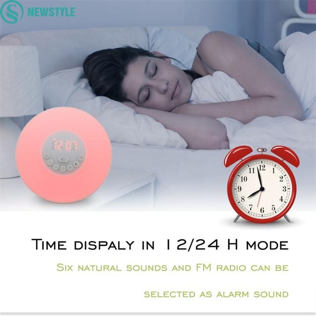 2017 Newest Sunrise Wake Up LED night Light with Digital Alarm Clock Multi-functions 6 kinds of music Clock FM Radio night