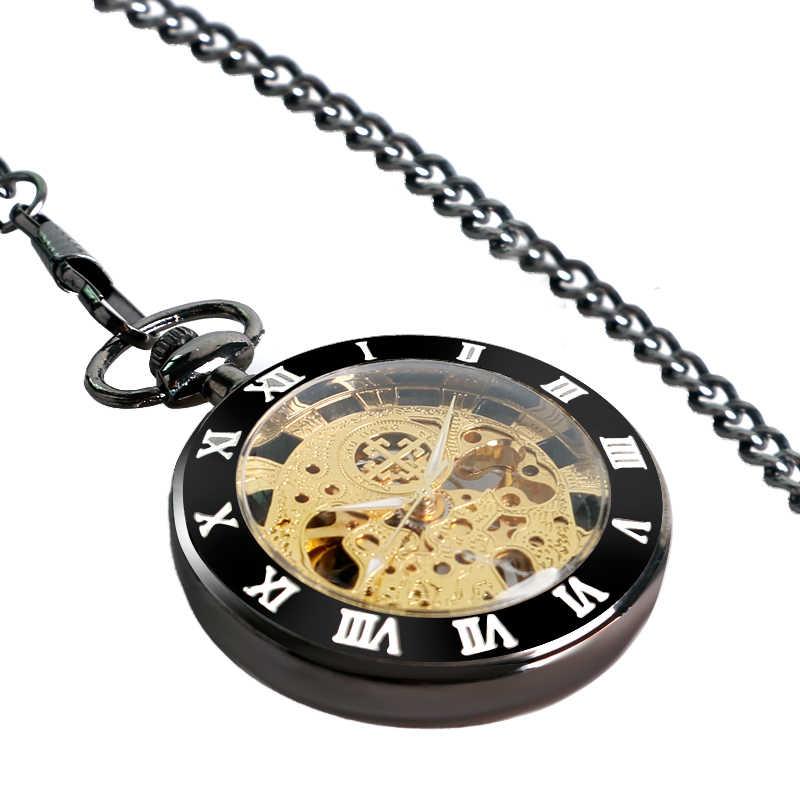 SHUAHANG בציר מכאני כיס שעון לגברים נשים Steampunk פתוח פנים Fob כיס שרשרת תליון שעון מתנות רומי ספרות