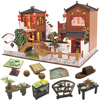 CUTEBEE DIY Dollhouse Wooden doll Houses Miniature Doll House Furniture Kit Casa Music Led Toys for Children Birthday Gift L902