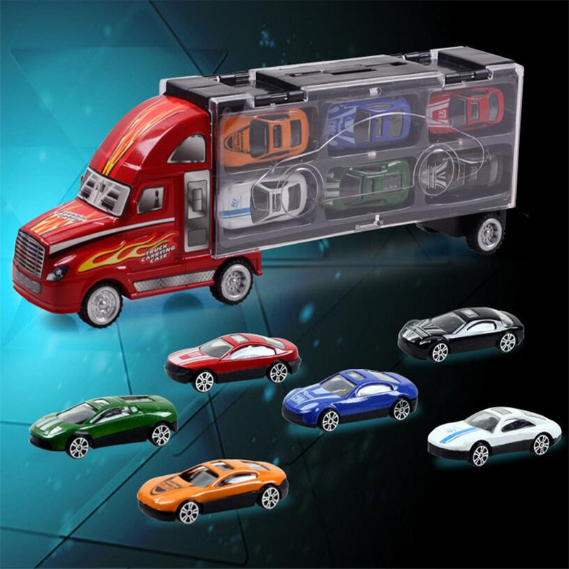 Transport Car Carrier Truck Boys Toy (includes Alloy Metal 12 cars) For Kids Children  (2)