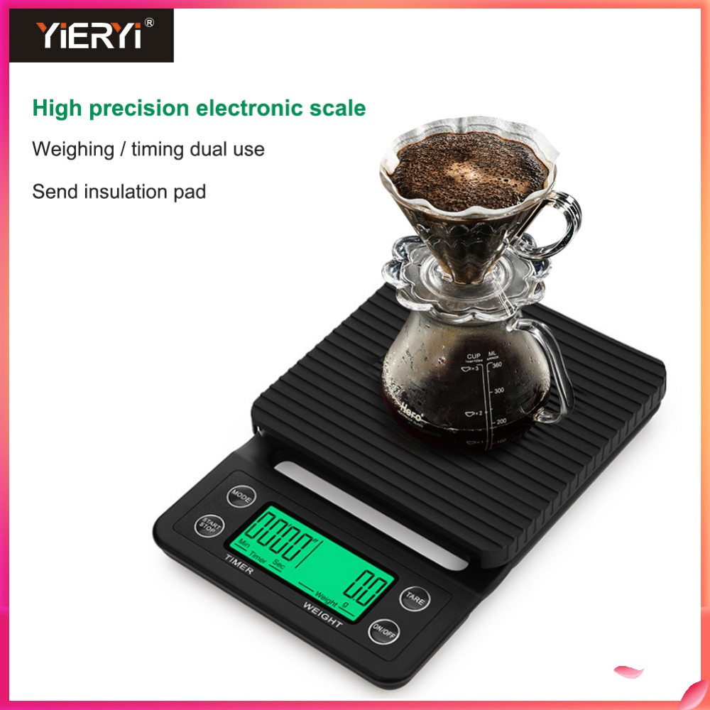 Yieryi 3kg/0.1g 5kg/0.1g Coffee Scale With Timer Portable Electronic Digital Kitchen Scale High Precision LCD Electronic ScalesYieryi 3kg/0.1g 5kg/0.1g Coffee Scale With Timer Portable Electronic Digital Kitchen Scale High Precision LCD Electronic Scales