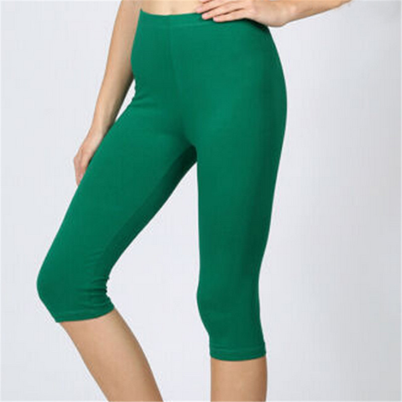 New Fashion Womens Lady Multicolor Summer Wear Casual Slim Fit   Leggings   Solid High Waist Nylon Spandex Three Quarters Mid-Calf