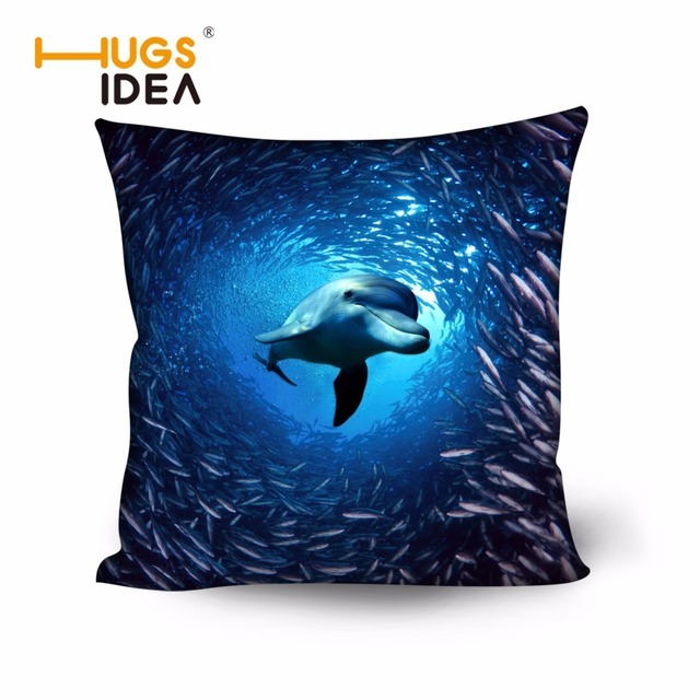HUGSIDEA Blue Printing Zoo Dolphin Seal Cushion Pillow for Living ...