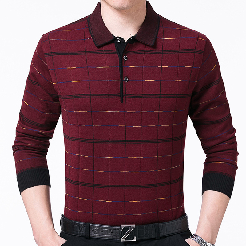 2018 brand long sleeve fitness   polo   shirt men camisa masculino casual plaid   polos   shirts mens poloshirt clothing jersey 40237