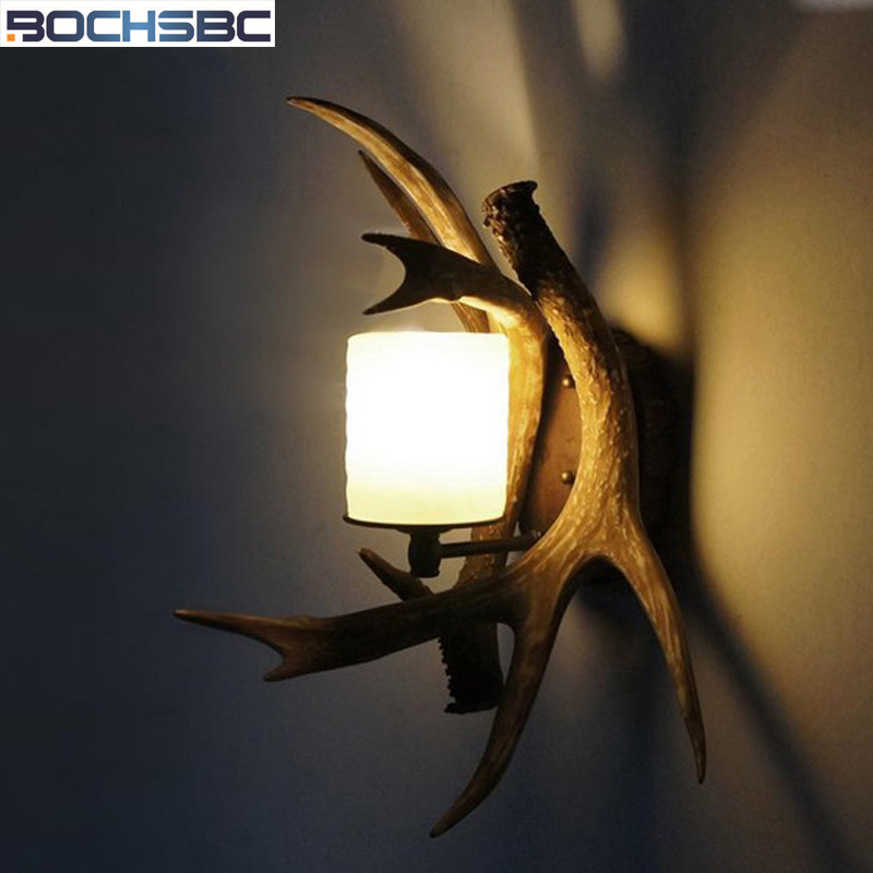 BOCHSBC Glass Lampshad Resin Antler Wall Lamp Decorative LED Lamp for Kitchen Dining Room Bedroom Bathroom Stairs Lompara Lights