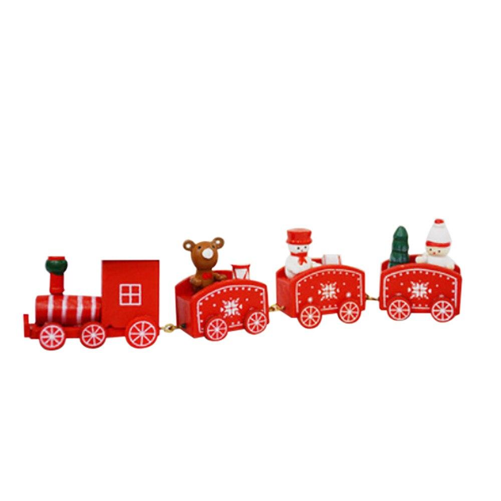 Деревянный Рождество маленький поезд Детский подарок мини медведь Снеговик Desktop Рождественский стол Аксессуары Adornos de Navidad Para Меса