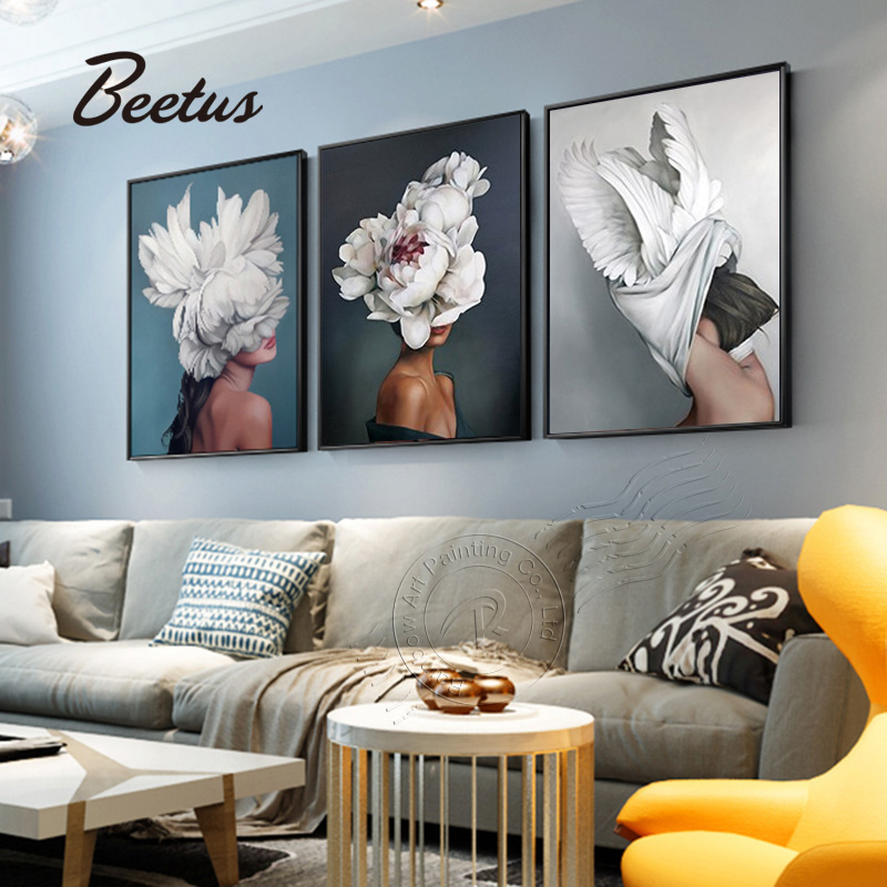 Nordic Posters And Prints Modern Fashion Flower Floral Women Canvas Paintings POP Wall Picture For Living Room Unframed