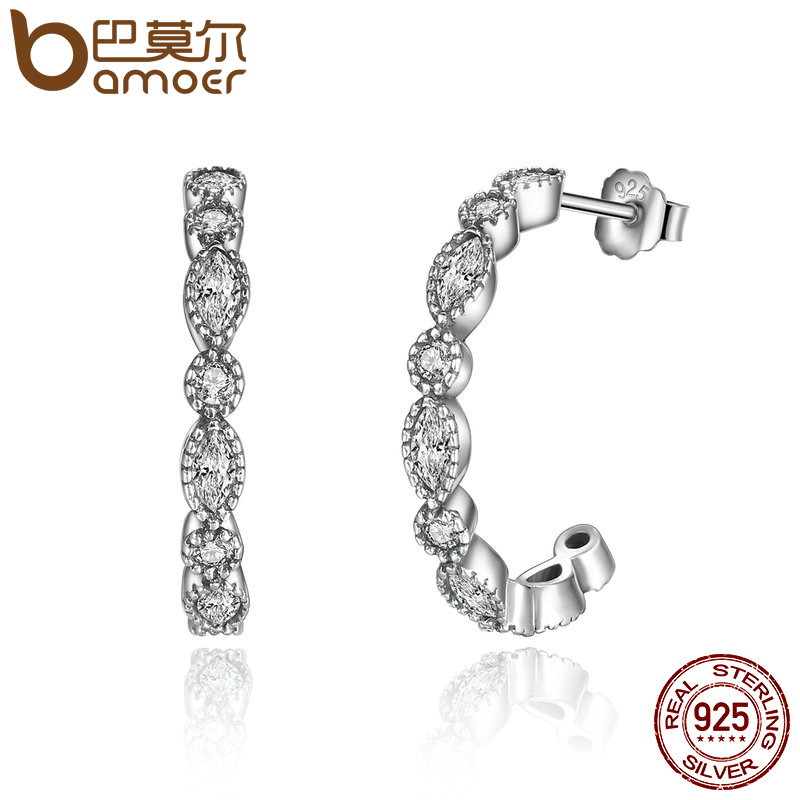 BAMOER Real 925 Sterling Silver Alluring Brilliant Marquise,s
